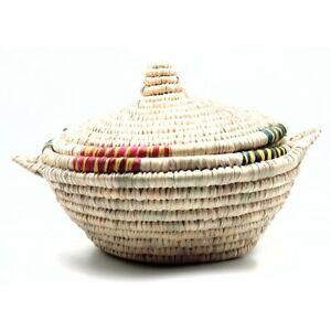 Panier à Pain Marocain En fibres végétales Fait Main Jonc Moroccan Bread Basket