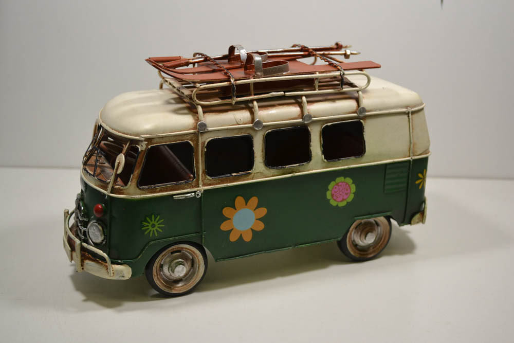 Blech-auto, VW Bus, Green, Flower Power, with Ski A. Roof, ca.27 x 17 11 cm (26)