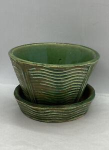FLOWER-POT-PLANTER-Vintage-McCOY-ART-pottery-gloss-GREEN-WAVE-pattern-AS-IS