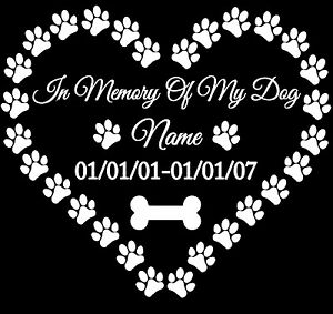 In Loving Memory Car Decals >> In Memory of My Dog vinyl decal sticker for car/truck laptop window custom | eBay