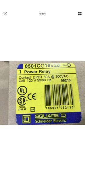 Square D 8501CO16V20 Power Relay 30A 300VAC Series D #12D55