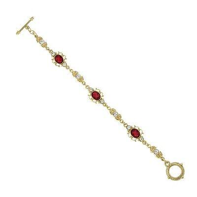Downton Abbey Gold Tone Red Crystal Filigree Toggle Estate Bracelets 17563
