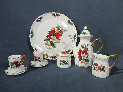 Christmas Tea Set Child Doll Teapot Poinsettia Tray Cups Saucers Vtg Set of 8