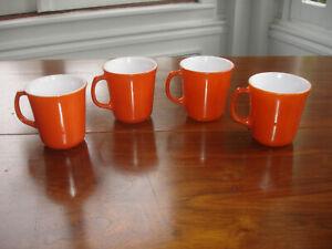 Lot of 4 Vintage Pyrex Burnt Orange Rust Glass Coffee Mug Cup