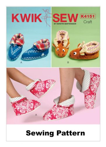 Kwik Sew K4151 PATTERN Adults /& Children/'s Slippers Brand New Sizes XS-XL