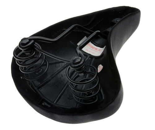 Viscount//Timberlin Comfort Bicycle Saddle w// Springs Bike Seat Lycra Black NEW