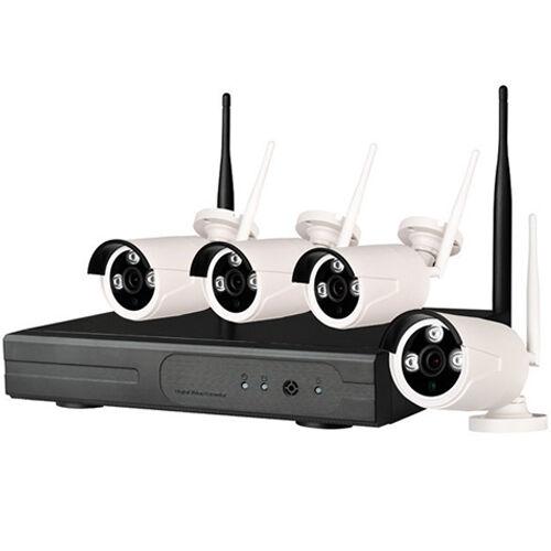 kit videosorveglianza wireless wifi IP DVR 4 canali telecamere senza fili 3 led