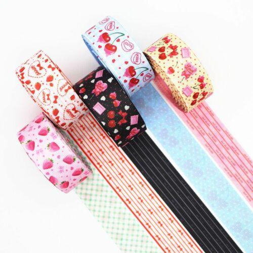 Two Sided Strawberry Cherry Printed Grosgrain Ribbons Hair Bows DIY Handmade