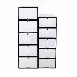 Periea-Front-Opening-Plastic-Shoe-Boxes-4-Sizes-Underbed-Storage-Clear-Black