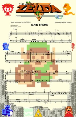 2 High Quality Posters Zelda and Mario Brothers Music Game 8-bit Art 11 x 17