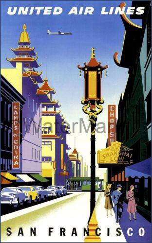 San Francisco 1950 California United Airline Vintage Poster Print Retro Style