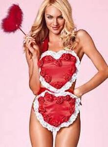 Victoria S Secret Sexy Valentines Babydoll Apron Lace Satin Wand