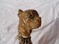 Ancien parapluie pommeau décor tête de chien en bois et yeux en verre