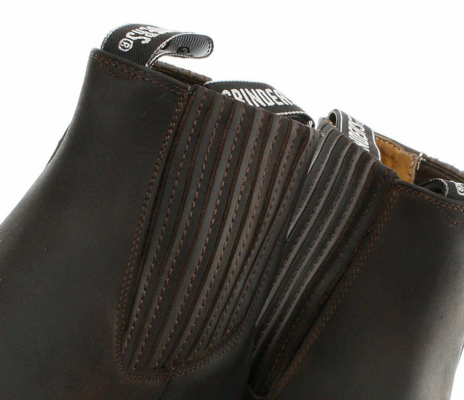 Grinders Mustang Brown Real Leather Cowboy Boot Slip On Cuban Heel Chelsea Boots