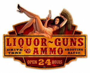Storm-Warning-Guns-Liquor-SHAPED-Hildebrandt-Metal-Sign-PINUP-Garage-Art-SIGNED