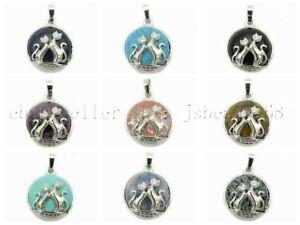 Natural-Gemstone-Reiki-Chakra-Cats-Healing-Pendant-Charm-Beads-Silver