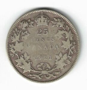CANADA-1921-TWENTY-FIVE-CENTS-QUARTER-KING-GEORGE-V-800-SILVER-COIN
