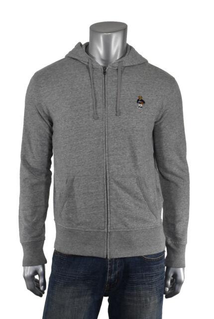 91d37d62b Ralph Lauren Polo Grey Fleece Basketball Bear Full Zip Hoodie Jacket New