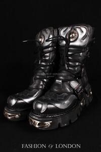ebf018b359 Unisex NEW ROCK 107-S2 Metallic Silver Skull Black Gothic Punk ...