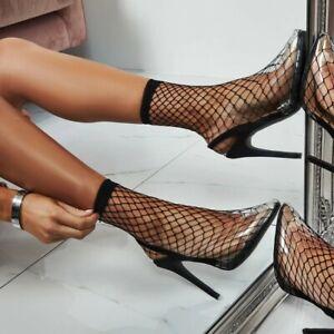 Stylish Women Sandals Fishnet Slim High Heels Summer Shoes Woman Plus Size 4-13