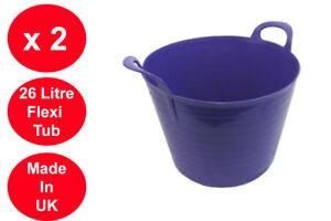2 x 26 L Flexi Tub Grand Jardin Conteneur de Rangement Flexible Seau Violet  </span>