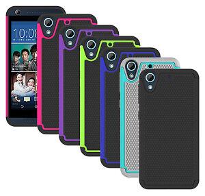 Para-HTC-Desire-626-650-caso-duro-hibrido-de-goma-cubierta-protectora-a-prueba-de-choques