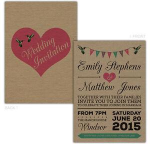 Personalised-kraft-day-evening-wedding-invitations-BIRDS-BUNTING-HEARTS-FREE-ENV