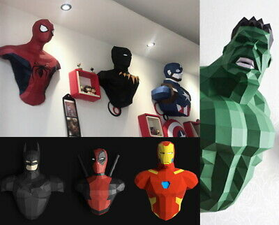 DIY Paper Craft 3D Marvels Spiderman Ironman Bedroom Wall Sticker Decoration