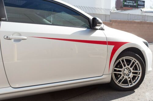 Vinyl Decal Front Fender Accent Stripe Wrap Kit for Scion TC Toyota 05-10 Dk Red