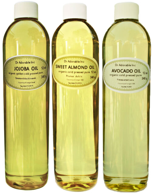 36 OZ ORGANIC PURE JOJOBA SWEET ALMOND OIL AVOCADO OIL