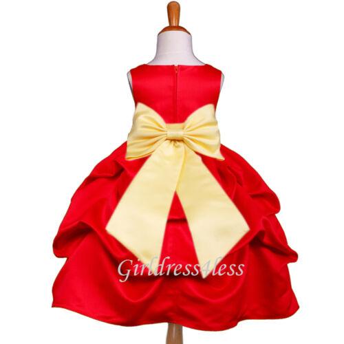 RED BELLE YELLOW PICK UP BABY WEDDING FLOWER GIRL DRESS 6M 12M 18M 2 4 6 8 10 12