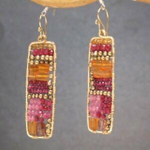 Hammered rectangle earrings Pink Ruby Carnelian Peridot Bohemian 175