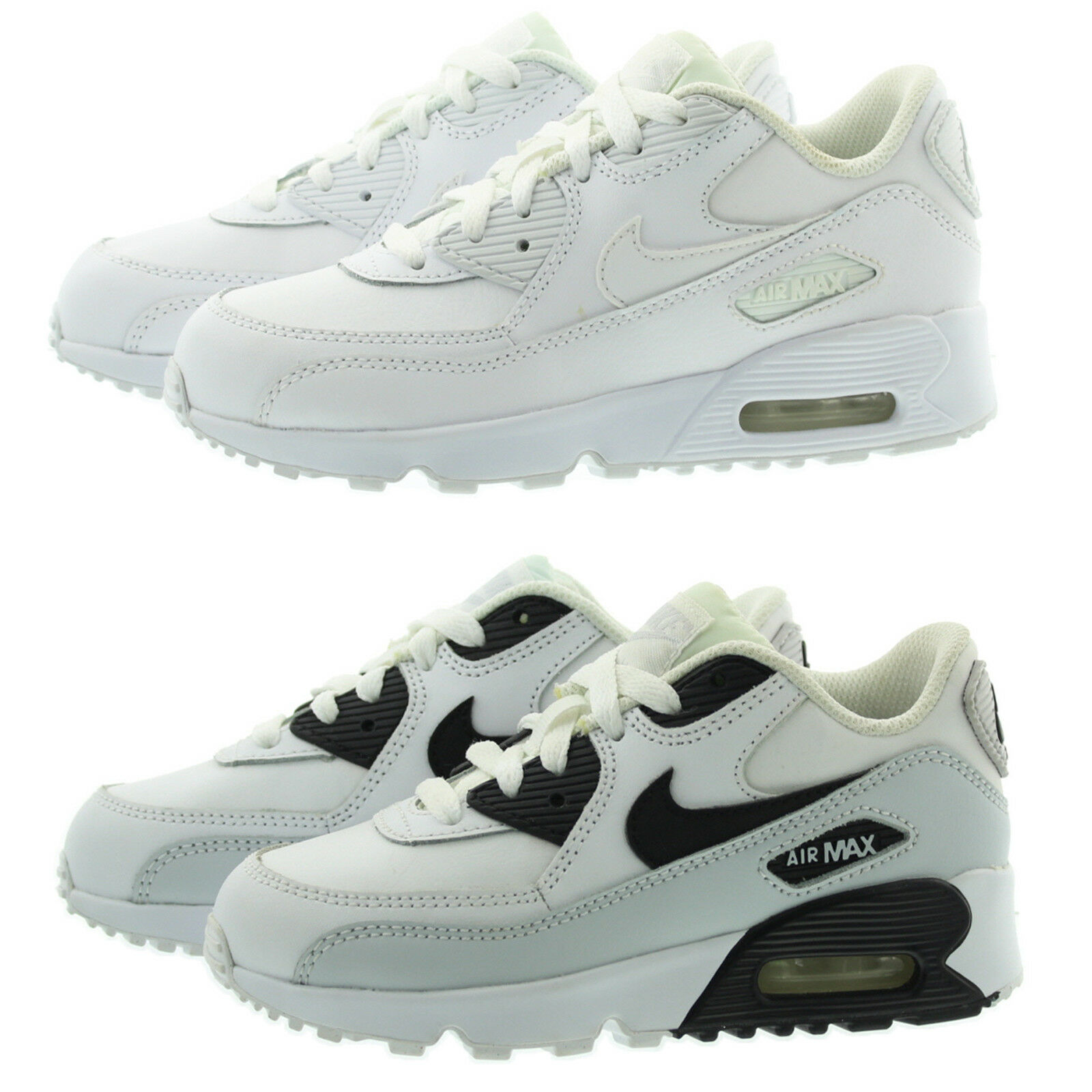 58b3b569021bf8 Nike Air Max 90 Ltr Little Kids 833414-100 White Athletic Shoes Youth Size  13 for sale online