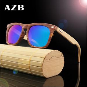 AZB Handmade Unisex Wood Sunglasses Wooden Temple Fashion Glasses Hot 2019