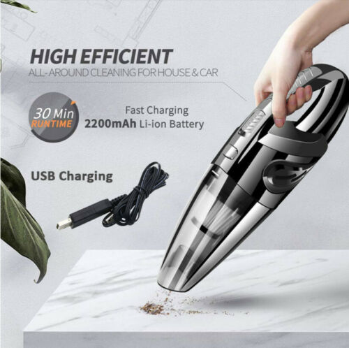 Cordless Vacuum Cleaner Handheld Wet Dry Portable USB Charge Removable Car UK