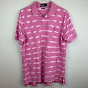 Polo Ralph Lauren Mens Xl Pink Blue Stripe Pima Cotton Polo Shirt Men's Clothing