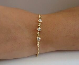 3 STONE LINK BRACELET 14K WHITE GOLD OVER 925 STERLING SILVER W// LAB DIAMONDS