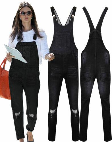 New Ladies Ripped Denim Slim Fit Dungarees Jumpsuit  Light /& Black Wash Jeans