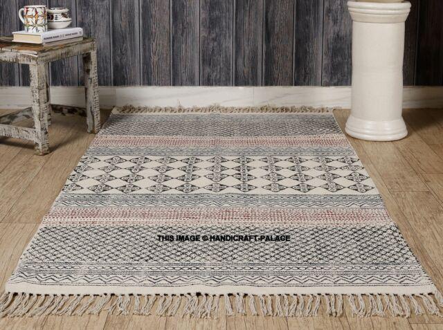 Indian Cotton Block Print Kilim Rug