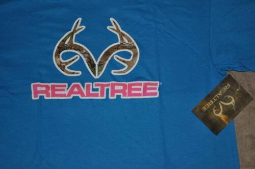 Realtree Deer Antler Logo Mens T-Shirt Blue by Delta Pro Weight NWT