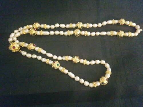 Vintage Deanna Hamro Costume Pearl and Gem Necklac