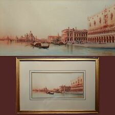 Umberto Ongania (Venecia 1867-1942) Pintura Original Acuarela Firmado Antiguo