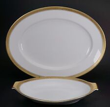 Rosenthal Porcelain White & Gold Band Platter and Relish Serving Dishes 5169