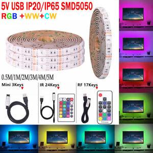 5M-RGB-SMD-5V-USB-LED-Ruban-Bande-Strip-Lights-TV-Flexible-Guirlande-Lumineuse