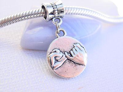 Cute Silver Tone Pinky Promise Swear Couple Love Dangle Charm fits Euro Bracelet