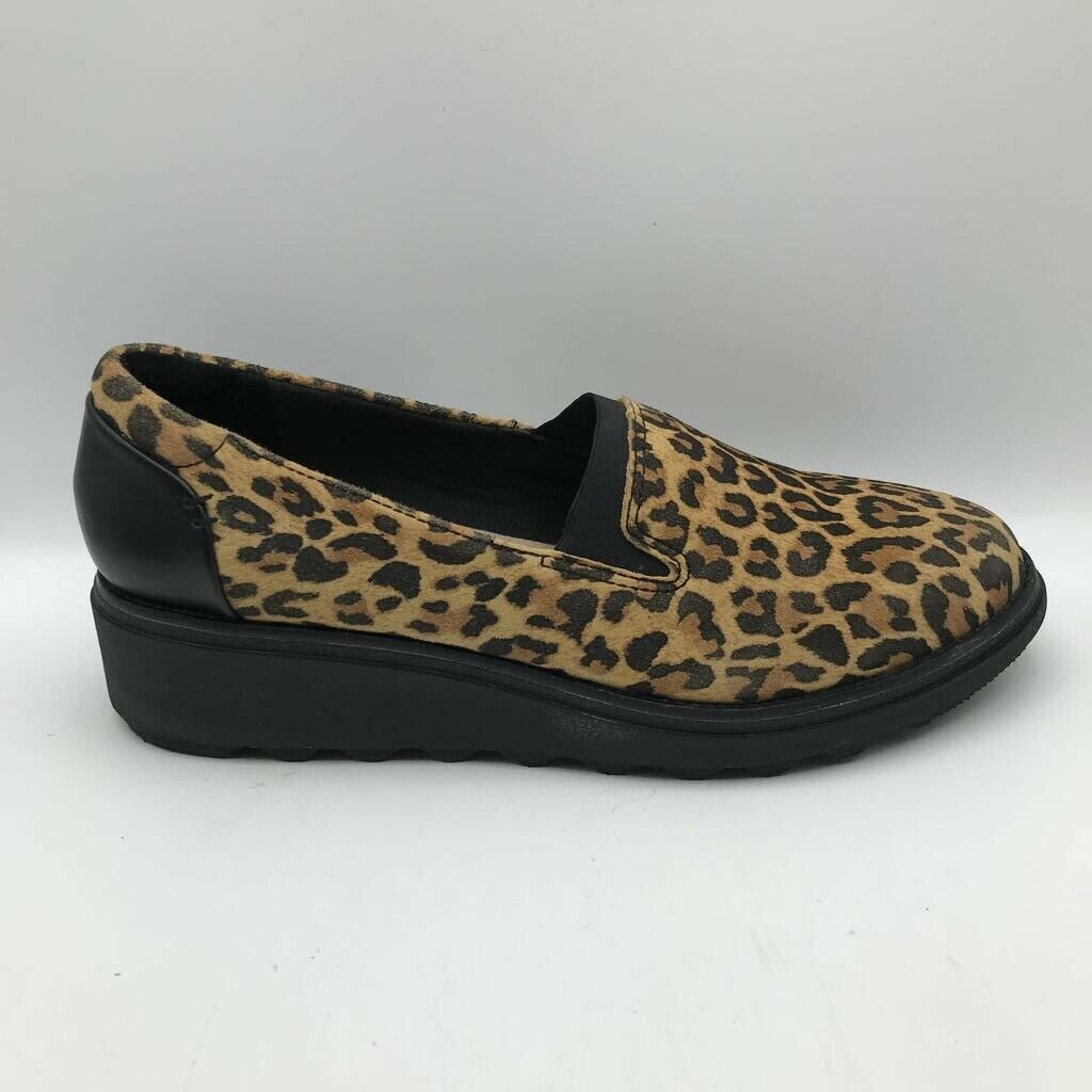 Collection By Clarks Womens Sharon Dolly Loafer Shoes Brown Leopard Print 8W