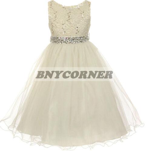 Burgundy Lace Sequin Gem Flower Girl Dress Bridesmaid Wedding Formal Dance