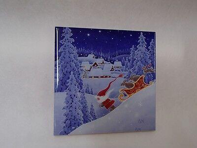 Ceramic Cork Backed Tile Trivet Hot Pad - Eva Melhuish Tomtar Gnome Santa #18