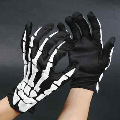 Unisex Halloween Cosplay Skull Skeleton Bone Goth Gloves Full Finger Warm Gloves