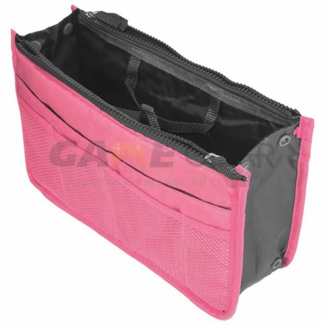 Pink Women Travel Insert Handbag Organiser Purse Large Liner Organizer Bag